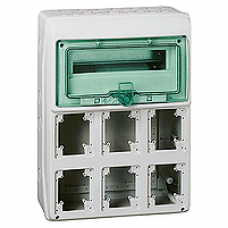 13181 - Kaedra - for power outlet - 6 openings - 1 x 12 modules, Schneider Electric