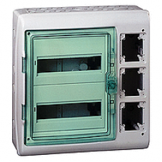 13991 - Kaedra - for modular device with interface - 2x12 modules - 1+1 terminal blocks, Schneider Electric