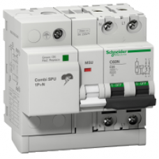 16304 - Combi SPU - circuit breaker with integrated overvoltage protection 1P + N 50A, Schneider Electric