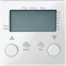 MTN581519 - Blind time switch polar white glossy System M, Schneider Electric